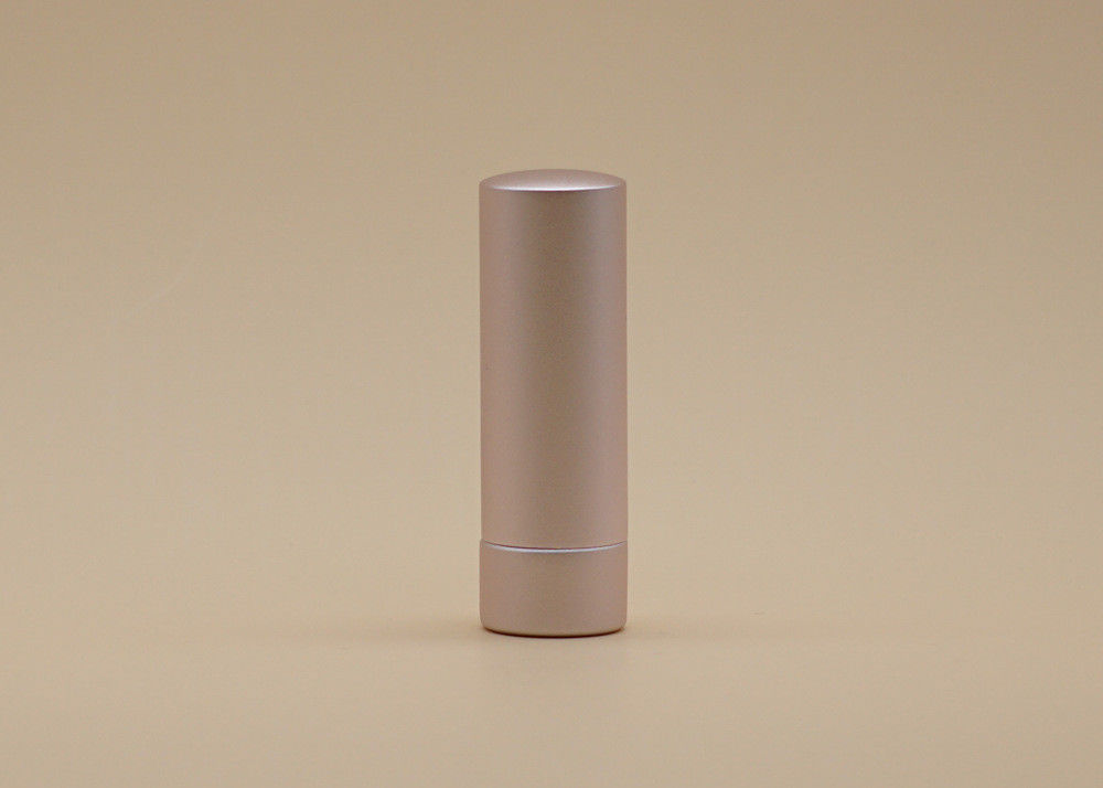 Pale Pink Rose Color Cosmetic Lipstick Containers Metallic Simple Sense 3.5g Cylinder Shape